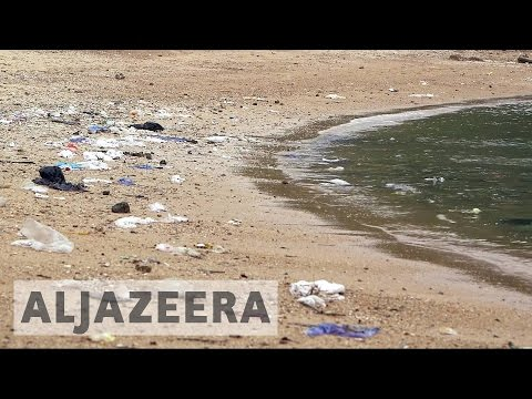 Huge amounts of trash wash up on Hong Kong's beaches