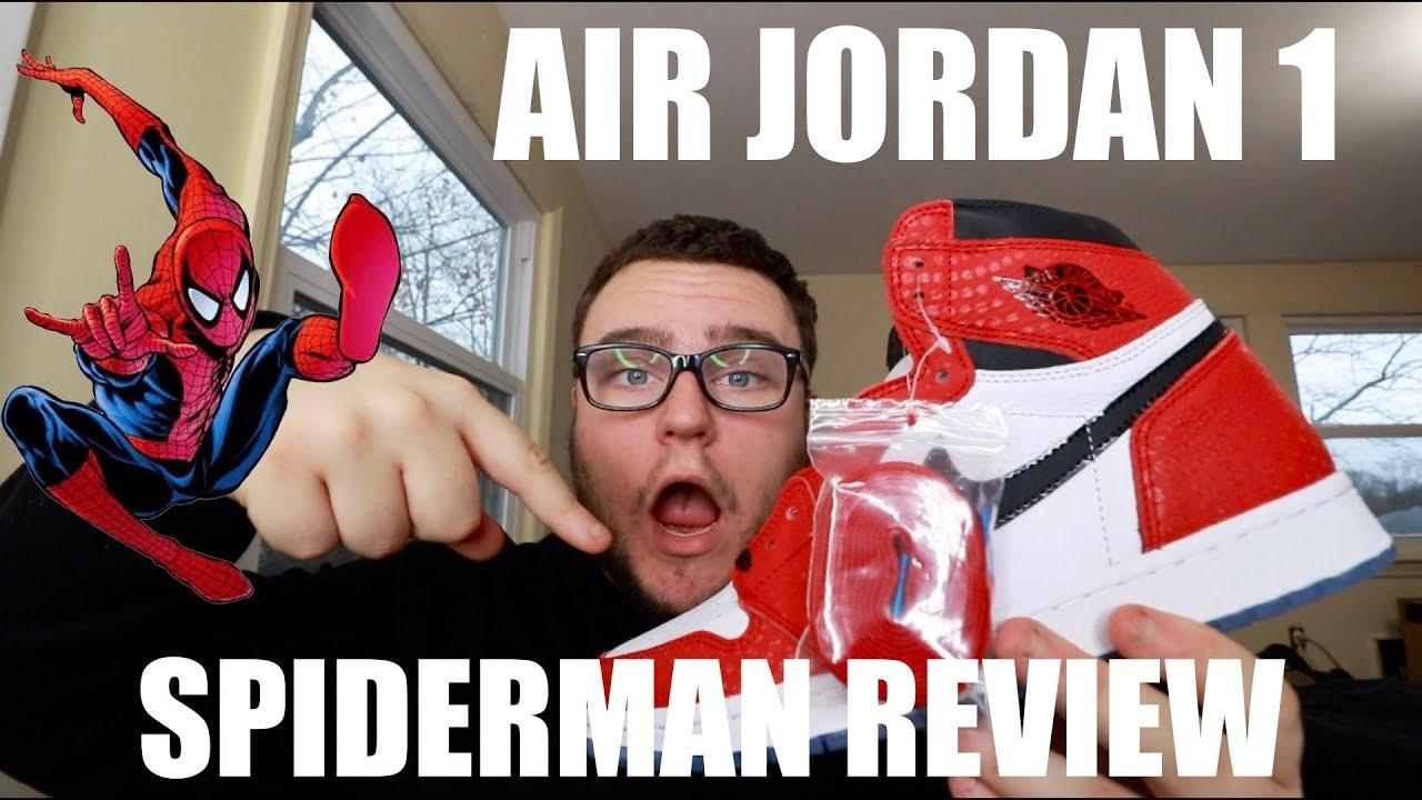 1fa592be1712 AIR JORDAN 1 SPIDERMAN ORIGIN STORY REVIEW - YouTube
