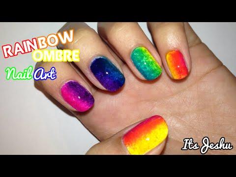 rainbow ombre nail art -itsjeshu