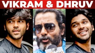 Chiyaan Vikram & Dhruv At Kadaram Kondan FDFS Celebrations At Kasi Theatre