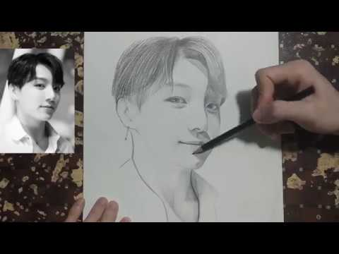 Drawing BTS: Jungkook |Boy With Luv | Vẽ tranh chân dung | Drawing Khanhnguyen