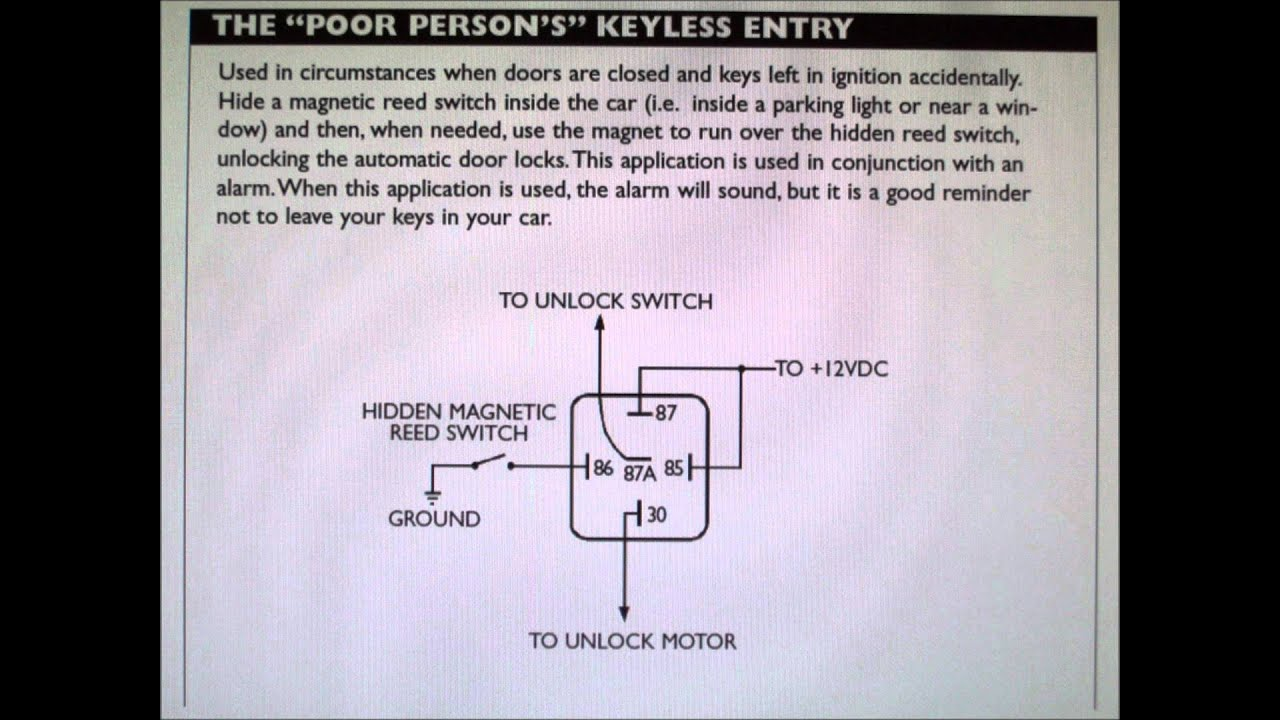 hidden switch to unlock car door or pop a shaved handle schematic rh youtube com spal door popper wiring diagram Door Poppers Installation