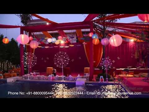 Poolside Mehendi Decorations at Chhabra Farm - Top wedding planner in Delhi | GetYourVenue