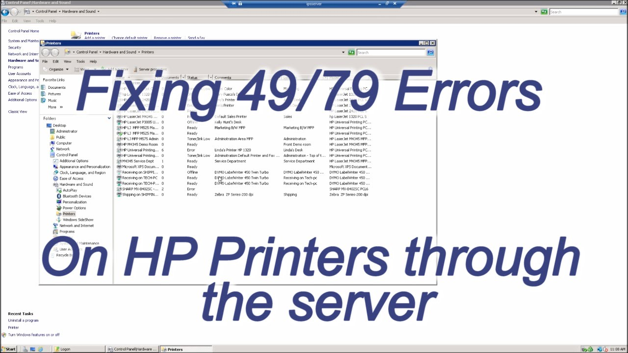 Fixing 49 or 79 Error on HP Printers through the Server - YouTube