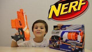 Бластер НЕРФ СТРОНГАРМ распаковка пушки и стреляем по целям находим сюрпризы  Nerf Blaster STRONGARM