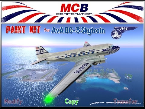 ::MCB Corporation::   PAA  The Hot Stewardess - Travel tote bag & DC-3 Skytrain paint kit