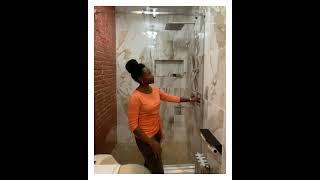 Feedback sliding shower door