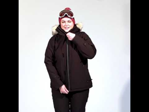 Cartel Brooklyn Womens Plus Size Ski Jacket Black