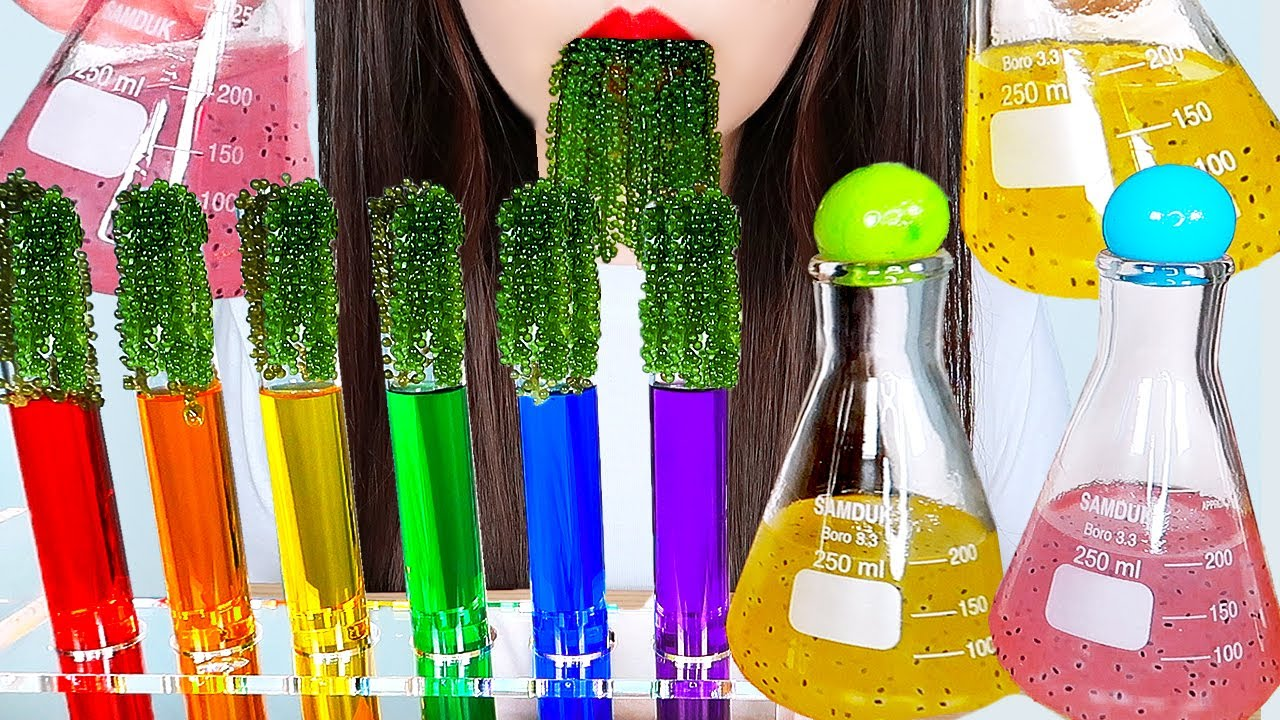 ASMR RAINBOW DRINKS, INTERESTING WATER 신기한 물 먹방 DRINKING SOUNDS MUKBANG | ZOEY ASMR