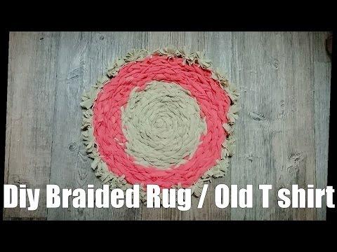Diy Ided Rug From Old Shirt No Sew To Make Shirt Yarn