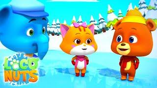 Кататься на льду мультфильмы для детей веселые Loco Nuts Russia детские видео