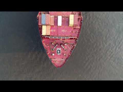 Aerial Drone Video of Cargo Ship MSC Julia R Delaware River Philadelphia