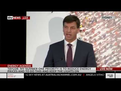 Minister for Energy Angus Taylor first speech to small business sector - SKY TV