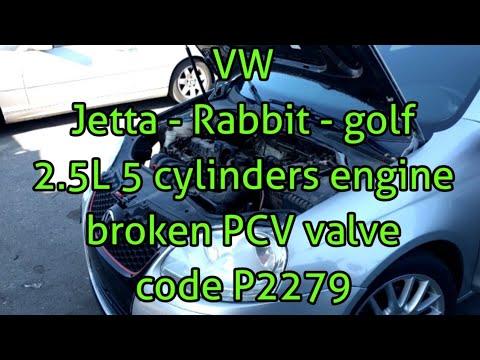 Volkswagen Jetta Golf rabbit 2.5L PCV problem engine high idle P2279