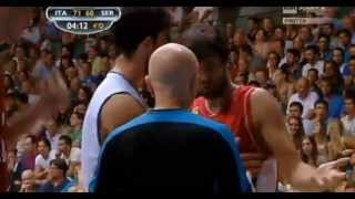 Milos Teodosic hits ref in face with ball