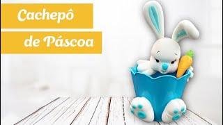Como fazer um Cachepô para a Páscoa com coelho modelado em biscuit