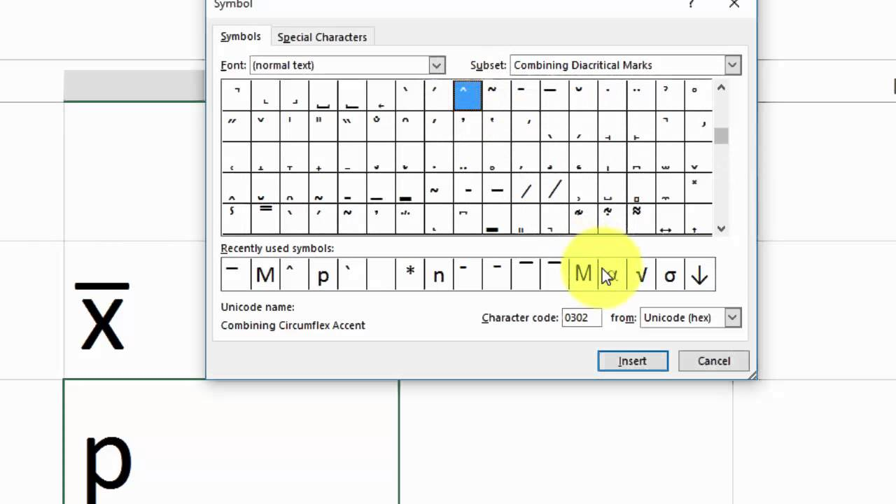 How to type x-bar & p-hat in Excel, Word for Statistics