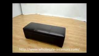 Wholesale Interiors Dark Brown Full Leather Storage Bench Ottoman With Stitching