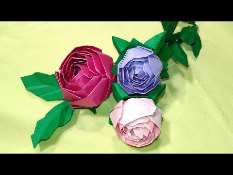Origami rose (modular). Easy  and quick paper rose! Ideas for Easter , birthday party decoration.