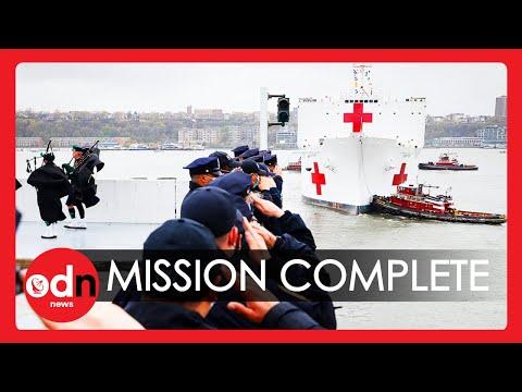 USNS Comfort Hospital Ship Leaves New York After Treating Coronavirus Patients