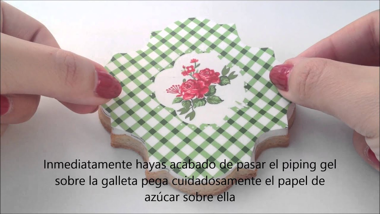 C mo decorar galletas con papel de az car tutorial youtube for Papel de arroz para decorar muebles