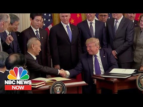 Stocks Hit Record High As Trump Signs China Trade Deal   NBC News NOW