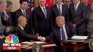 Stocks Hit Record High As Trump Signs China Trade Deal | NBC News NOW