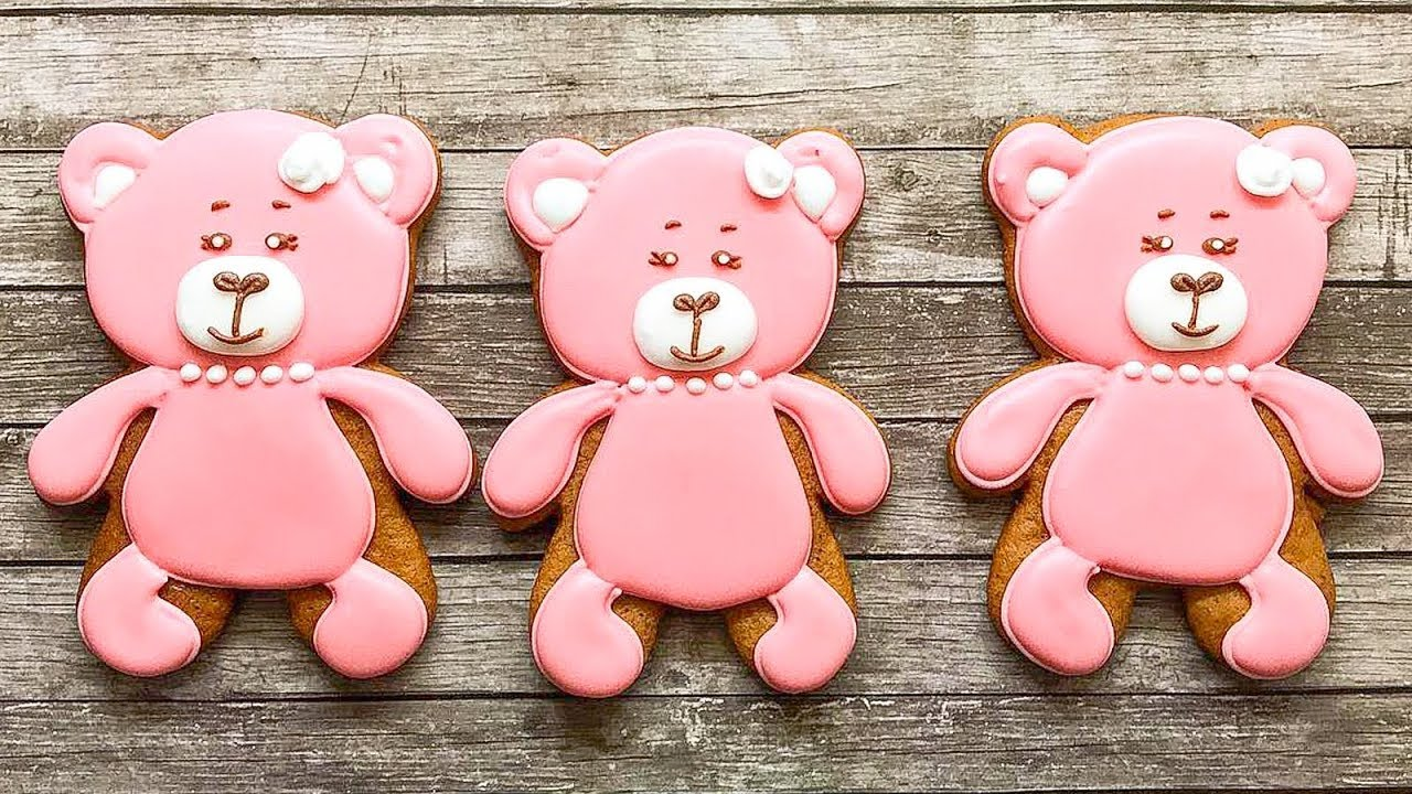🐻🍪 Pink Teddy Bear Cookie With Royal Icing - Cookie Decorating Ideas -  Milya Cookie
