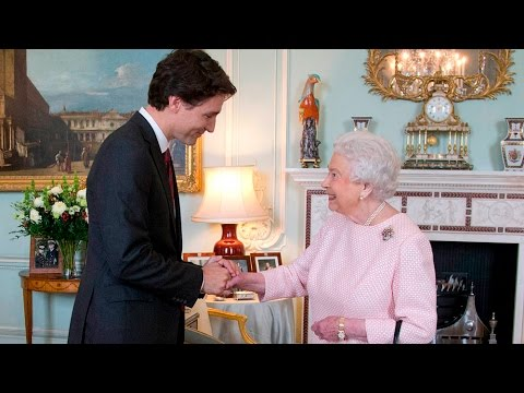 Image result for Queen elizabeth with justin trudeau