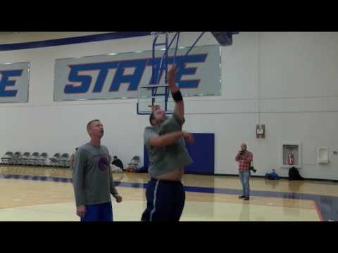 B.J. Rains participates in a summer workout for the Boise State men