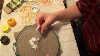Вышивка лентами для начинающих. Ромашка (часть 1)