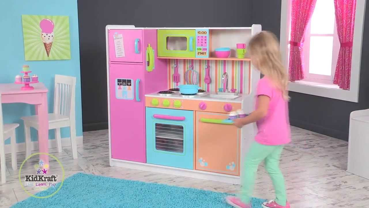 KidKraft - Deluxe Big & Bright Play Kitchen - YouTube