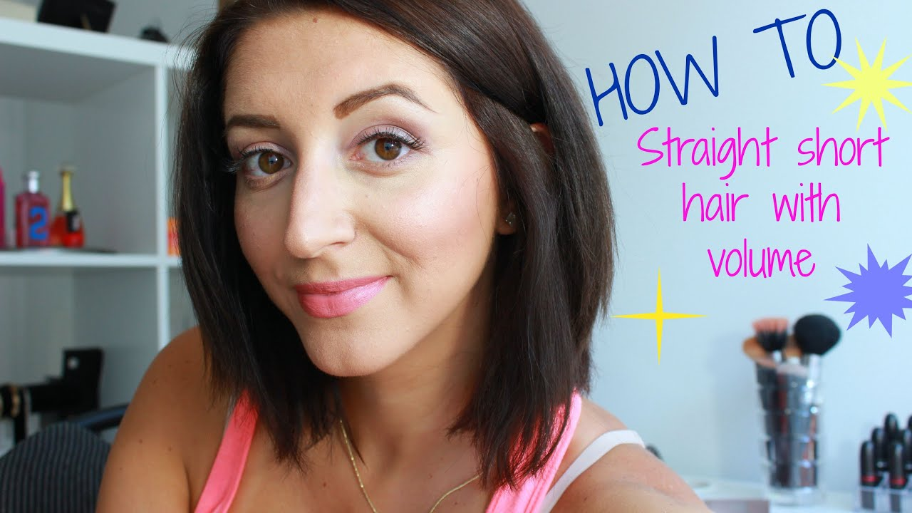 How To Straight Short Hair With Volume Youtube