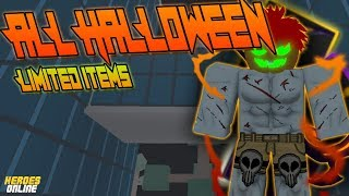 [NEW CODE!] ALL HALLOWEEN LIMITED ITEMS SHOWCASE IN | HEROES ONLINE | ROBLOX