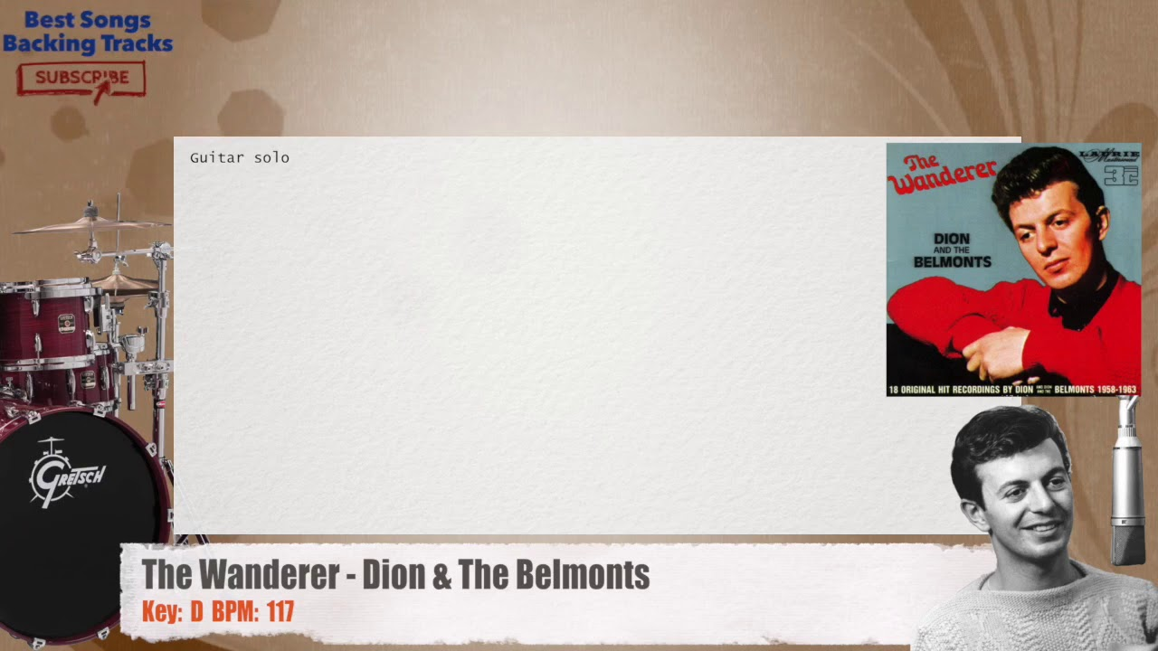 The Wanderer Dion The Belmonts Drums Backing Track With Chords