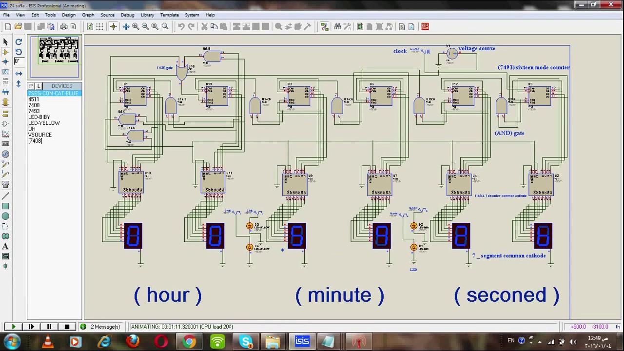 digital clock proteus simulation [ 1280 x 720 Pixel ]