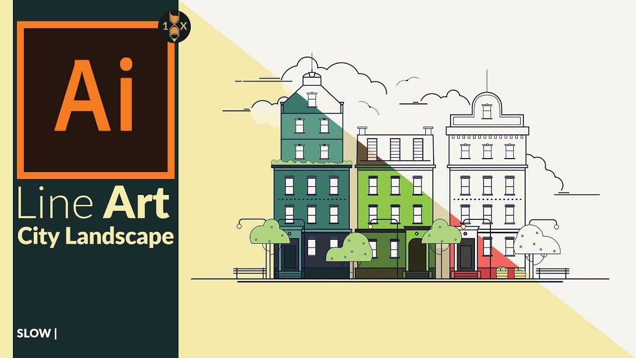 Line Art Adobe Illustrator : Creating a line art city landscape in adobe illustrator