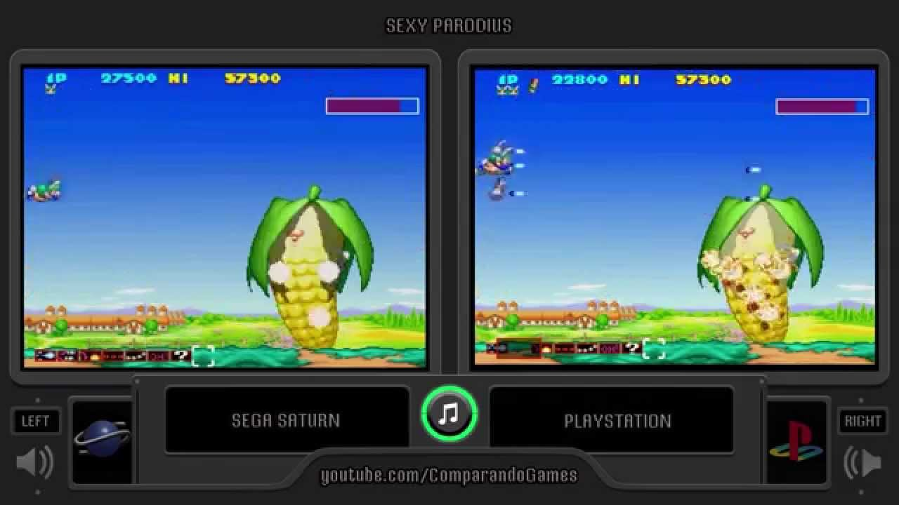 Sexy Parodius Sega Saturn Vs Playstation Side By Side
