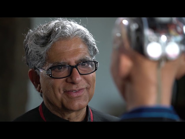 Sophia the Robot meditates with Deepak Chopra