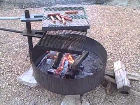 Free Standing Fire Pit -2 Cooking Grates - Free Standing Fire Pit -2 Cooking Grates - YouTube