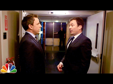 Jimmy Walks Seth Meyers to Late Night's Set After Tonight Show