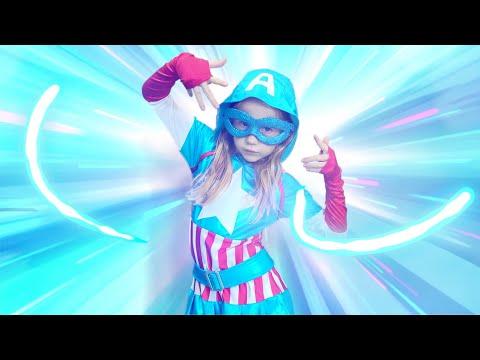 Nastya turns into superheroes kid with magic costumes