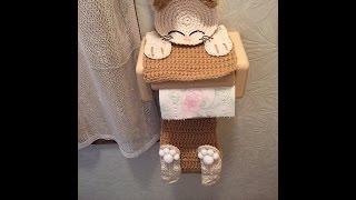 かぎ針編み・猫ちゃんのトイレットペーパーホルダーカバー