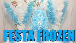 Como fazer uma mesa para festa Frozen usando papel de seda