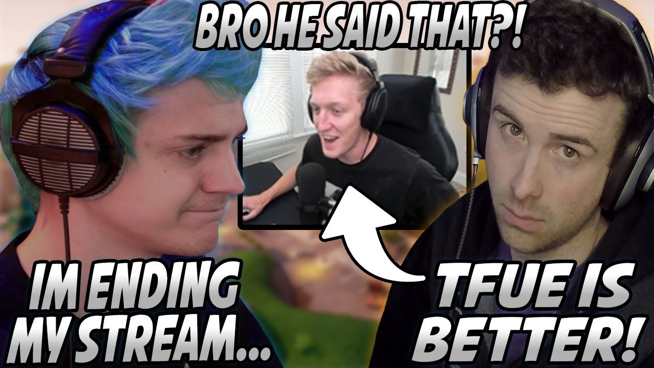 Summit1g Fortnite Battle Royale Twitch Clips Ninja Gets Upset Ends Stream After Drlupo Tells Him Tfue Is Better Tfue Reacts دیدئو Dideo