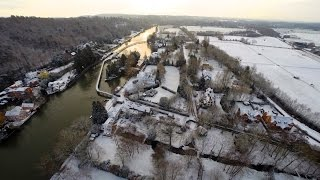 Drone Flight Over Snow Covered Henley-on-Thames. HD 1080p video. DJI Phantom. GoPro.