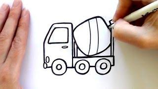 How to Draw a Cartoon Concrete Mixer
