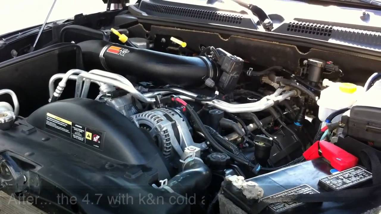 08 Dakota 4 7 New K N Cold Air Intake Before And After Youtube