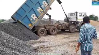 How To Tata Tippers Hydraulic Works || Tata LPK 3118 During Unloading Chips.