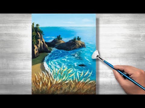 Ocean landscape painting | Acrylic painting | step by step #266